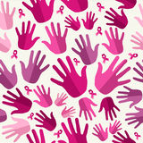 Breast cancer awareness ribbon women hands seamles Stock Photos