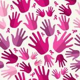 Breast cancer awareness ribbon women hands seamles stock photos