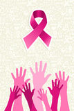 Breast cancer awareness ribbon women hands vector. Breast cancer awareness ribbon elements women hands shape composition. Vector file organized in layers for Royalty Free Stock Photo