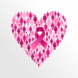 Breast cancer awareness ribbon women heart shape. Royalty Free Stock Photo