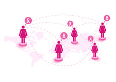 Breast cancer awareness ribbon women speech global map. EPS10 fi Royalty Free Stock Images