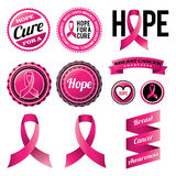 Breast Cancer Awareness Ribbons and Badges. A set of breast cancer awareness ribbons and badges. Vector EPS 10 available Royalty Free Stock Photos