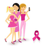 Breast cancer awareness selfie girls social media Royalty Free Stock Image