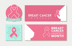 Breast cancer awareness set of banners and label Royalty Free Stock Image