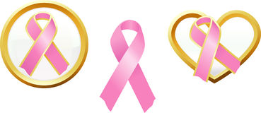 Breast Cancer Awareness Support Icons Stock Images