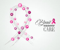 Breast cancer awareness symbols concept banner EPS Stock Photo