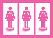 Breast cancer awareness symbols concept illustrati Stock Photos