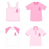 Breast cancer awareness t shirts. Pink t shirts with breast cancer awareness ribbons Royalty Free Stock Images