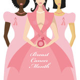 Breast Cancer Awareness.Three International Woman Stock Photos