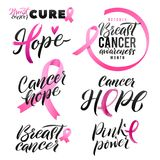 Breast Cancer Awareness Vector Set. Calligraphy Poster Design. Stroke Pink Ribbon. October is Cancer Awareness Month Royalty Free Stock Photography