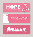 Breast cancer banner set with girl body silhouette Royalty Free Stock Image