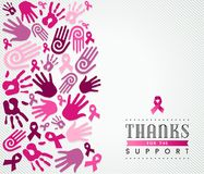 Breast cancer campaign poster pink hand ribbon Royalty Free Stock Images