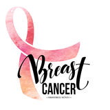 Breast cancer card. Awareness month ribbon. Watercolor texture. Modern brush calligraphy. Isolated on white background vector illustration