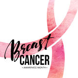 Breast cancer card. Awareness month ribbon. Watercolor texture. Modern brush calligraphy. Isolated on white background stock illustration