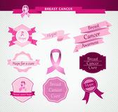 Breast cancer care awareness ribbon and stamps EPS stock photos