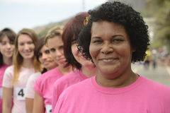 Breast cancer charity race: Women in pink Stock Photo