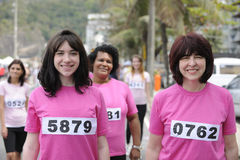 Breast cancer charity race: Women in pink royalty free stock image
