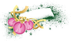 Breast Cancer Christmas Ornaments with Gift Tag Stock Photos
