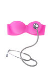 Breast cancer concept,  bra pink and stethoscope Stock Images
