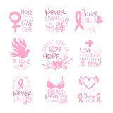 Breast Cancer Fund Collection Of Colorful Promo Sign Design Templates In Pink Color With International Cancer Sickness. Symbols And Motivating Slogans. Bright Stock Image