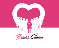 Breast Cancer graphic with  design. Breast Cancer October Awareness Month Campaign Background with paper girl silhouettes and pink ribbon symbol. Vector Stock Images