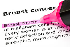 'Breast cancer' highlighted in pink. With felt tip pen Stock Photo