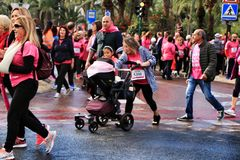 Breast cancer march in Elche stock image