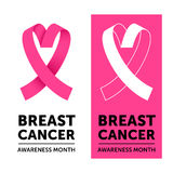 Breast Cancer pink awareness ribbon emblem banner Stock Photos