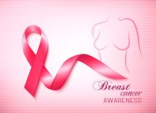 Breast cancer pink background an awareness ribbon Royalty Free Stock Images
