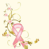 Breast Cancer Pink Ribbon Fundraiser Background. A delicate pink ribbon and flowers adorns this breast cancer awareness background. Nice for moms or sisters Royalty Free Stock Images
