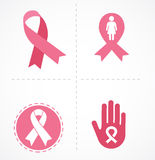 Breast cancer and pink ribbon set Royalty Free Stock Photo