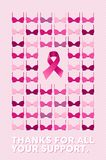 Breast cancer poster thanks for your support Royalty Free Stock Photography