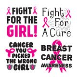 Breast Cancer Quotes Saying stock illustration
