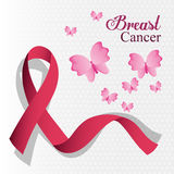Breast cancer ribbon and butterfly card royalty free illustration