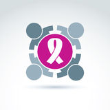 Breast cancer ribbon placed on a purple circle. Royalty Free Stock Photos