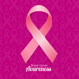 Breast Cancer Ribbon Poster. Vector Royalty Free Stock Images