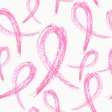 Breast cancer ribbon seamless pattern Stock Photo