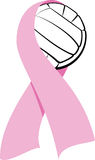 Breast Cancer Ribbon With Volleyball Royalty Free Stock Photography