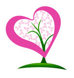 Breast cancer ribbons heart tree Stock Photo
