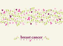 Breast cancer seamless pattern ribbon heart nature Stock Images