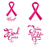 Breast cancer. A set of four breast cancer symbols with or without text Stock Photos