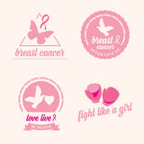 Breast cancer set of stickers. Pink ribbon, icon design. Royalty Free Stock Photos