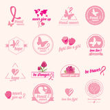 Breast cancer set of stickers. Pink ribbon, icon design. Royalty Free Stock Image