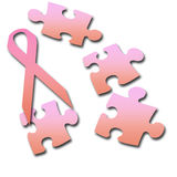 Breast cancer support. Pink ribbon and puzzle pieces  breast cancer on white background Royalty Free Stock Photos
