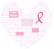 Breast cancer support heart. Words of support in the shape of the heart for breast cancer Royalty Free Stock Images