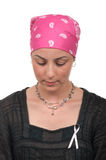 Breast Cancer Survivor. Worried breast cancer survivor 2 months after chemotherapy Royalty Free Stock Photography