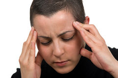 Breast  Cancer Survivor. Breast cancer survivor with headache (2 months after chemo Stock Photos
