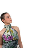 Breast  Cancer Survivor. Beautiful breast cancer survivor with copy space ( 2 months after chemo Stock Photography