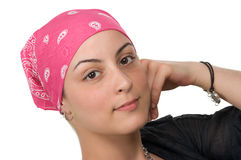Breast Cancer Survivor. Beautiful breast cancer survivor with bandanna ( 2 months after chemo Royalty Free Stock Images