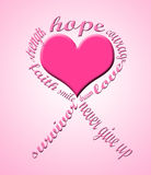 Breast cancer symbol. Made of words and a heart in the middle Stock Image